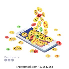 Isometric concept with mobile phone and falling down emoticons. Emoji. Vector illustration.