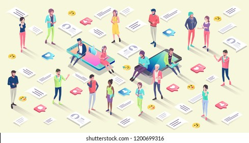 Isometric concept with mobile phone, people and push notification with likes, new comments, messages and followers.Vector illustration.