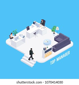 Isometric concept of office life. 3d office of the manager. Businessman working at the computer. The secretary accepts the visitor. Vector illustration.