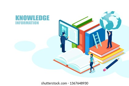 Isometric concept of online global education training courses, university studies and digital library.