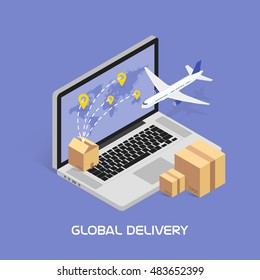 Isometric Concept Online tracking. Shipping and global deliveries by air service. Cardboard boxes with products. Aircraft flying. Image in vector format.