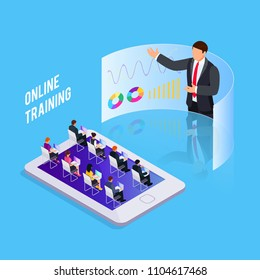Isometric concept online training. 3d training with people on smartphone. People at business training. Vector illustration.