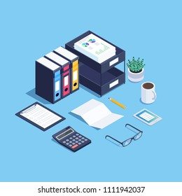 Isometric concept paperwork. 3d office workplace. Trendy isometric background. Vector illustration.