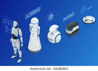 Isometric concept robot programming. Infographics of Robots helpers and friends