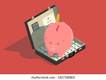 Isometric concept of saving money. Briefcase with money and piggy bank