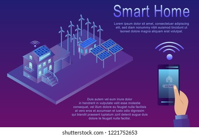 Isometric Concept of Smart Home. Wireless Connected Devices. Isometric vector Illustration