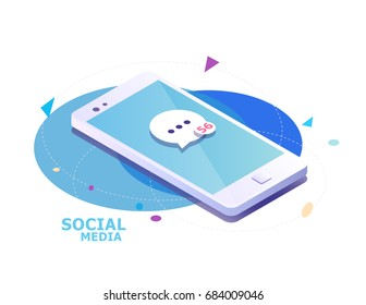 Isometric concept with smartphone and incoming messages. New mail, sms. e-mail notification. Vector illustration.