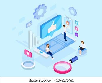 Isometric concept. Social media marketing. E-marketing, digital marketing.Analytics, strategy, mechanism of work. Campaign