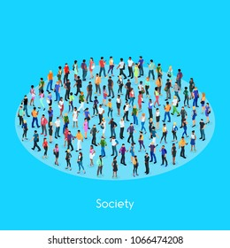 Isometric concept of society. Set of isometric people with different skin color. Crowd of people. 3d men and women view front and back. Modern young people. Vector illustration.