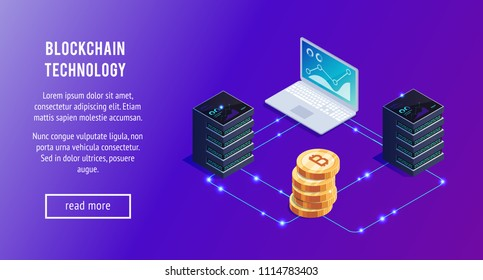 Isometric concept statistics and analysis. 3d gold bitcoin, servers and laptops. Cryptocurrency. Isometric blockchain, baner design template. Vector illustration.