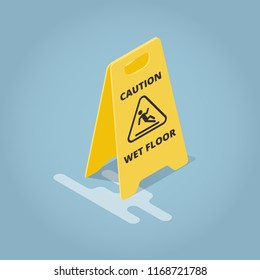Isometric Concept Template Warning Plate. Yellow plate caution wet floor. Vector illustration.