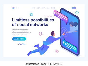 Isometric concept Unlimited possibilities of social networks, a young girl communicates with a young man via the Internet. Online Dating. Landing page template for the site