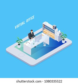 Isometric concept virtual office. 3d workplace on smartphone with table, computer and an employee. Vector illustration.
