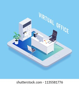 Isometric concept of virtual office. Office furniture on tablet. Folder, card index. 3d workplace. Vector illustration.