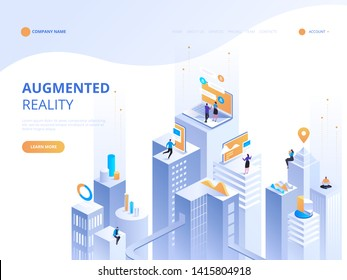 Isometric concept virtual reality and augmented reality AR and VR Development. Digital Media Technology for website and mobile app. Software development and programming. Computation of big data center