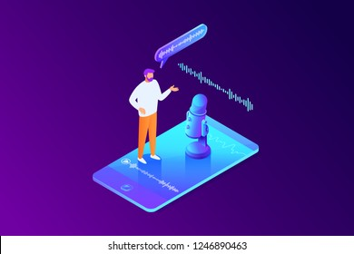 Isometric concept of voice message recording, man using microphone on phone, character talk to smartphone, online interview, communication, 3d vector illustration