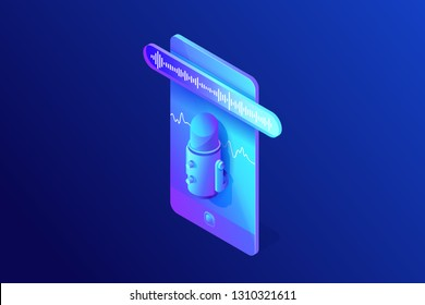 Isometric concept of voice or sounds recording on phone, using microphone app, voice message, soundwave on smartphone screen, 3d vector illustration