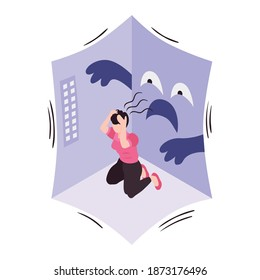Isometric concept with woman suffering from panic attack in empty room 3d vector illustration