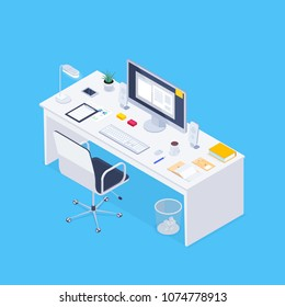 Isometric concept workplace. 3d computer, claim form, coffee, smartphone, lamp, plant on a desk. Vector illustration.