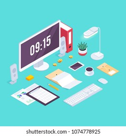 Isometric concept workplace. 3d computer, claim form, coffee, smartphone, lamp, plant on a blue background. Vector illustration.
