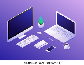 Isometric concept of workplace with computer, mobile phone, laptop and office equipment. Vector illustration