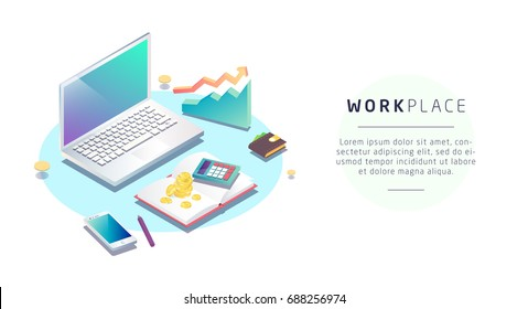 Isometric concept of workplace with computer and office equipment. Accountant. Vector illustration.