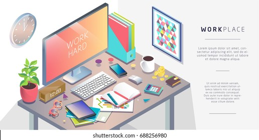 Isometric concept of workplace with computer and office equipment. Vector illustration.