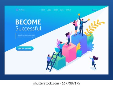 Isometric concept young entrepreneurs, start up project, successful business, ladder to success. Landing page concepts and web design.