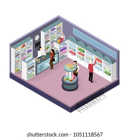 Isometric concepts pharmacy. Vector illustration isolated on white background.