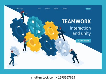 Isometric Conceptual image of business team working cohesively. Interaction and unity. Website Template Landing page.