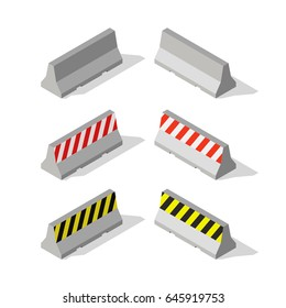 Isometric concrete road barriers.