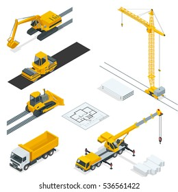 Isometric construction icons set with various materials and transport isolated on white background. Industrial crane, concrete mixer, sand, bricks, shovel, hammer vector illustration