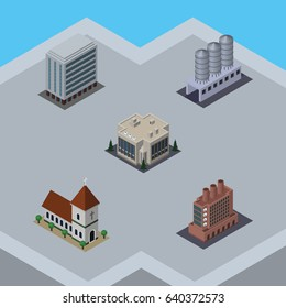 Isometric Construction Set Of Office, Water Storage, Industry And Other Vector Objects. Also Includes Storage, House, Catholic Elements.