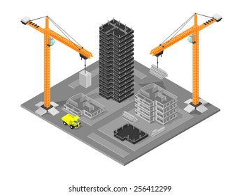 Isometric construction site with cranes and buildings. Isometric construction site. Isometric Building site.