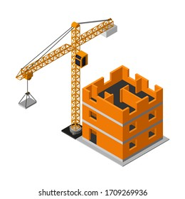Isometric construction site with industrial crane flat vector icon isolated on white background. 3d building construction in process.