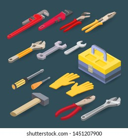 Isometric construction tools isolated on grey background. Plumber wrench, pliers, spanner, screwdriver, hammer. Vector set of hand tools for building or home renovation. Instruments for repair. Flat.