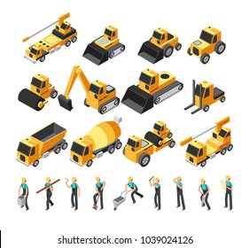 Isometric construction workers, building machinery and equipment 3d vector set. Construction equipment and bulldozer machinery illustration