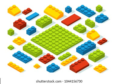 Isometric constructor blocks at different colors. Cube brick and block, 3d toy isometric, geometric plastic construction, vector illustration