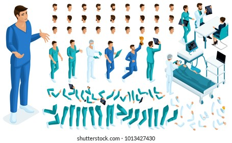 Isometric Constructor of a doctor, surgeon with a set of gestures and emotions. Create your character. A large set of accessories for the operating room.