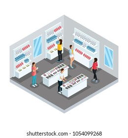 Isometric cosmetic store template with female customers and makeup products on shelves vector illustration