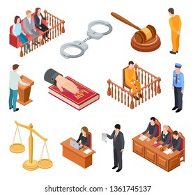 Isometric court of law. Trials defendant witness interrogation jury judge justice accused lawyer criminal legal prisoner vector icons