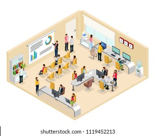 Isometric coworking office concept with people working at different desks tables and holding business conference isolated vector illustration