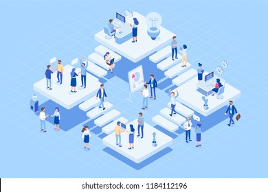 Isometric Coworking office concept.   People Working together. Office with different people characters.  Flat vector illustration.
