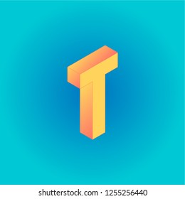Isometric creative yellow and peachy letter T isolated on the blue gradient background. Design for business, web, site, banner. Vector illustration