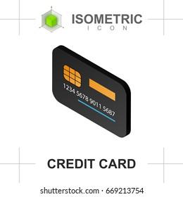 Isometric credit card icon isolated on white background. Flat style. Vector illustration.