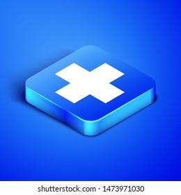 Isometric Cross hospital medical icon isolated on blue background. First aid. Diagnostics symbol. Medicine and pharmacy sign. Blue square button. Vector Illustration