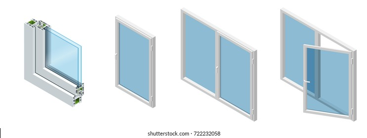 Isometric Cross section through a window pane PVC profile laminated wood grain, classic white. Set of Cross-section diagram of glazed windows.