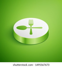 Isometric Crossed fork and spoon icon isolated on green background. Cooking utensil. Cutlery sign. White circle button. Vector Illustration