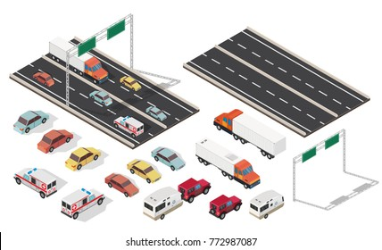 Isometric crossroads and city with highways traffic road set.