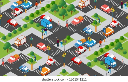 Isometric Crossroads intersection of streets of highways with traffic cars standing in jam. Seamless repeating background illustration